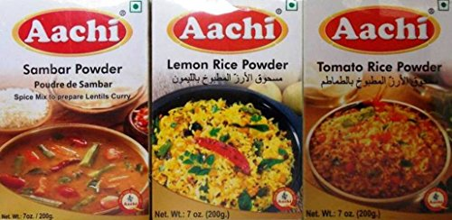 Aachi Indian Spice Mix 3 Flavor Variety Bundle: (1) Aachi Sambar Powder Spice Mix, (1) Aachi Lemon Rice Powder Spice Mix, and (1) Aachi Tomato Rice Powder Spice Mix, 7 Oz. (200g) Ea.