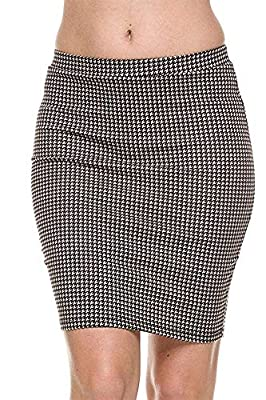 The Lovely Women Houndstooth Print Stretch Waist Pencil Straight Bodycon Knit Mini Skirt