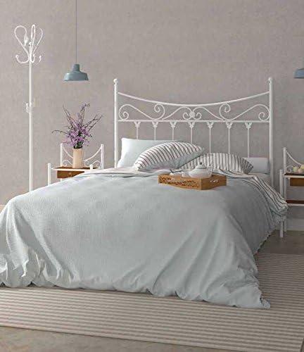 Hogares con Estilo Cabecero de forja Nacional Modelo Coín, Color Blanco para Cama de 150 cms Medidas Disponibles.