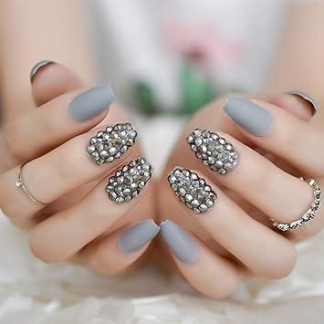 EchiQ uñas postizas de color gris mate estilo punk a la moda ...