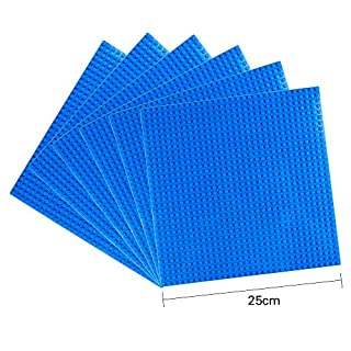 "LVHERO Classic Baseplates Building Plates for Building Bricks 100% Compatible with All Major Brands-Baseplate, 10"" x 10"", Pack of 6 (Blue)"