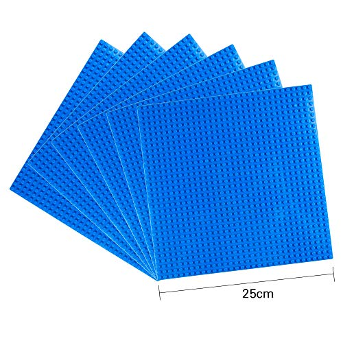 """LVHERO Classic Baseplates Building Plates for Building Bricks 100% Compatible with All Major Brands-Baseplate, 10"""" x 10"""", Pack of 6 (Blue)"""