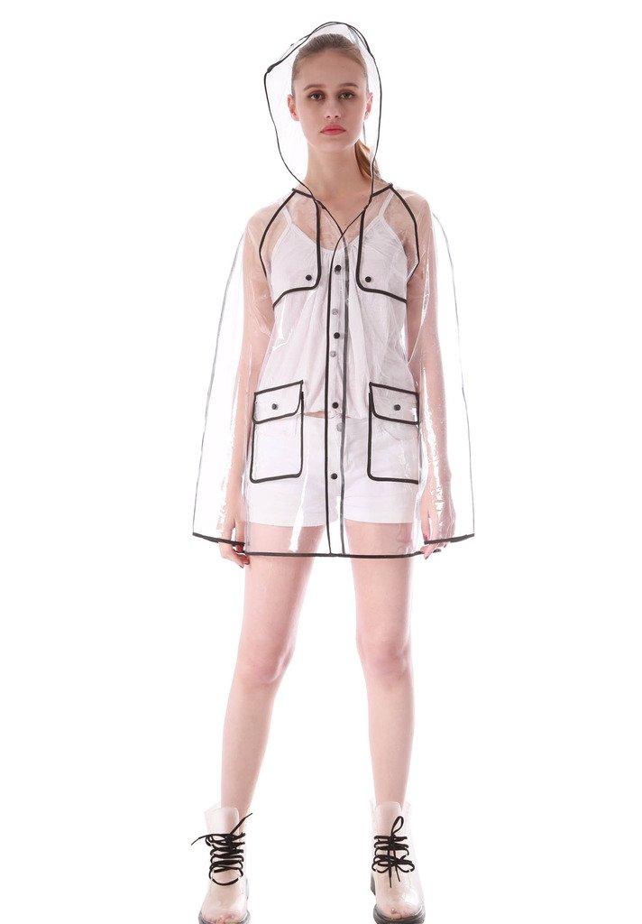Yuding Women's Transparent Waterproof Eva Hooded Black Hem Rain Jacket Size Medium