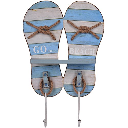 NIKKY HOME Beach Themed Flip Flop Sandal Decorative Wall Mounted Coat Hooks Towel Rack,14.96 x 3.62 x 9.96 Inches, Blue