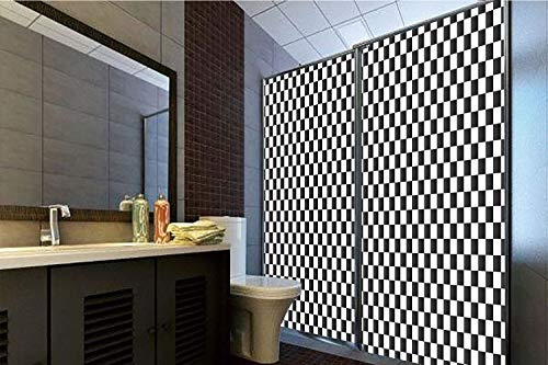 Horrisophie dodo 3D Privacy Window Film No Glue,Checkered,Monochrome Composition with Classical Chessboard Inspired Abstract Tile Print Decorative,Black White,70.86