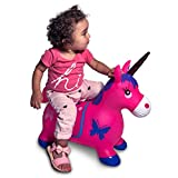 Lambader Ride-on Animal Bouncy Unicorn Hopper Toys Inflatable Bouncer Jumping Rubber Unicorn Child Baby Play Toys (Pink)