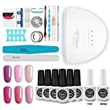 Girly Dream Gel Nail Polish Starter Kit with 48W LED Dryer Speed Curing Lamp Light Base Top Coat 6Pcs Gel Polish, Popular Manicure Tools Polish Art Professional C016