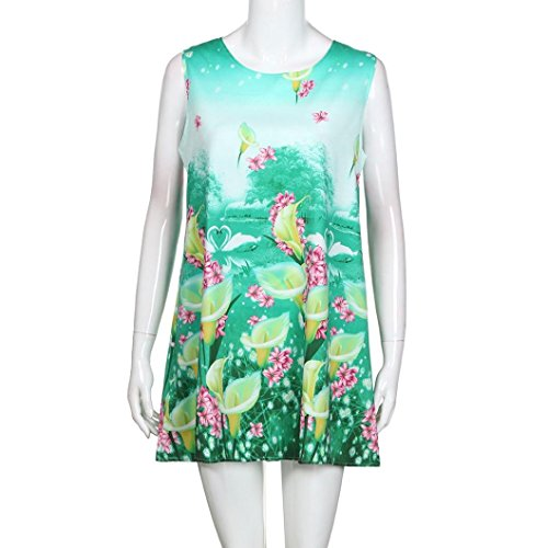 elegante mini impresa falda 2 vestido chic mangas noche casual Adeshop sin dress de boho de verano cuello redondo trapecio verde suelta vintage 85RwAgzq
