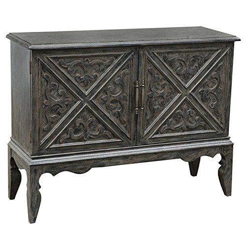 Pulaski P017169 Traditional Grey Wine Bar Storage Cabinet, Intricate scroll work