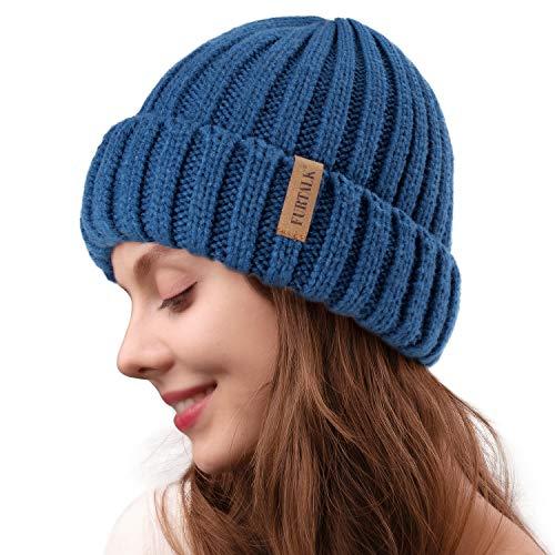 FURTALK Womens Knitted Winter Pom Beanie Hat Faux Fur Pom Pom Bobble Hat Beanie w014, 13-wood Blue, One Size