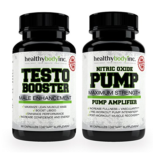 Price comparison product image Nitric Oxide Pump Amplifier and Testo Booster Combo Pack By Healthy Body Inc - Maximum Strength