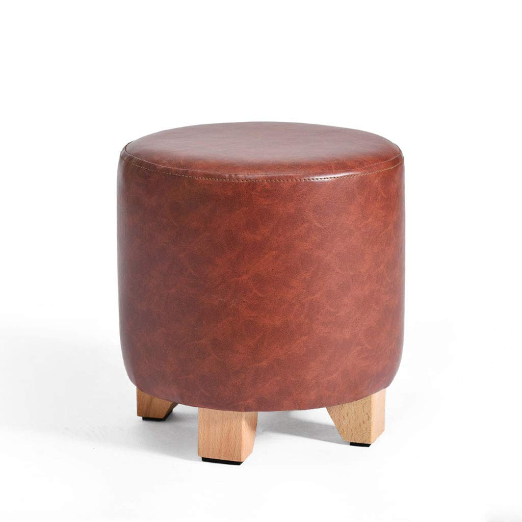 Dark Red L29CMXW29CMXH30CM Solid Wood Stool Leather Round High Elastic Sponge Home Living Room Sofa Stool V (color   Dark Red, Size   L29CMXW29CMXH35CM)