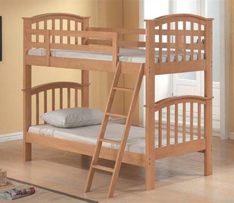 Twin Size Bunk Bed Contemporary Style Maple - Twin Maple Size Bunk Bed