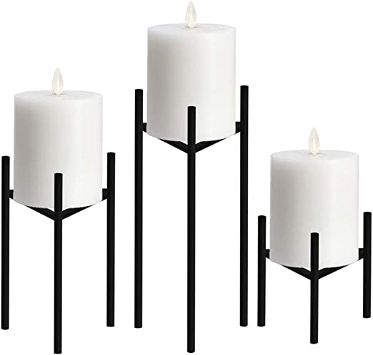 for Coffee Table Decor 6.5 and 8 Inch Tall Rustic Farmhouse Candleholders in 5 Pillar Candle Holder Set of 3 Grey Ceramic Finish Wedding Centerpieces and Holiday Decoration