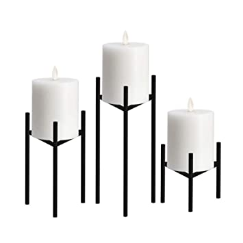 Excellent Only Us Metal Pillar Candle Holders Set Of 3 Black Candlesticks For Fireplace Living Room Dinning Room Table Candelabra Decoration Modern Art Classic Ibusinesslaw Wood Chair Design Ideas Ibusinesslaworg