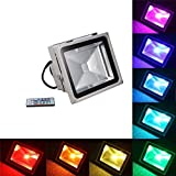 30W LED Flood Light RGB Color Changing Waterproof Security Lights & Remote Control for Garden Home Yard Hotel Pathway BIMANGO