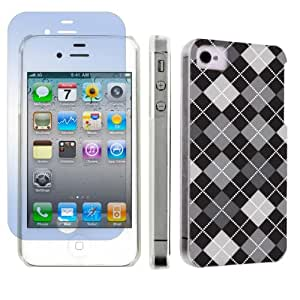 Apple iPhone 4 or 4s Ultra Slim Light Weight Plastic Cover Case + Screen Protector By SkinGuardz - Black Argyle