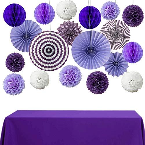 InBy Purple Tisse Paper Pom Pom Party Decorations Kit Paper Fan Flower Decoration Set Honeycomb Ball for Baby Girl Shower Wedding Bridal Shower Birthday Bachelorette Décor ()