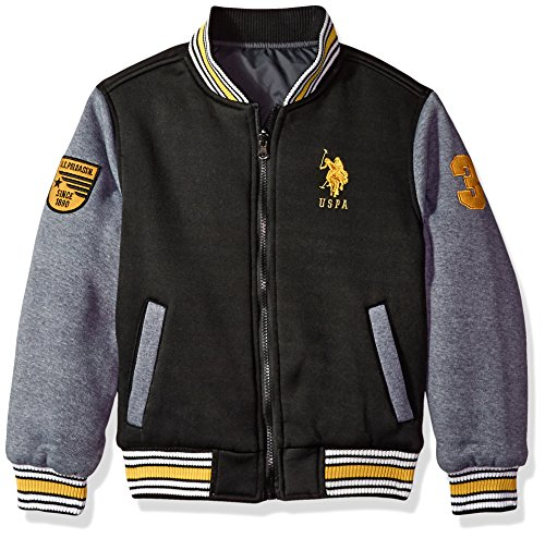 US Polo Association Little Boys' Fashion Outerwear Jacket, UB59-Reversible-Black/Heather Grey, 7