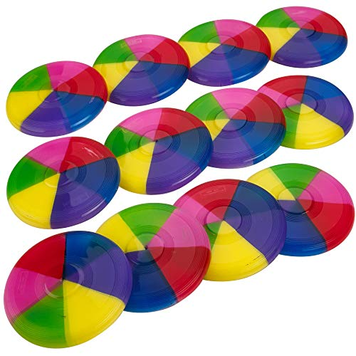 Kicko Mini Rainbow Flying Disks 3.5 Inches - Pack of 12 - Cool Rainbow Colors Mini Frisbees - Outdoor Toys - for Kids Great Party Favors, Bag Stuffers, Fun, Toy, Gift, Prize (Flying Discs Rainbow)