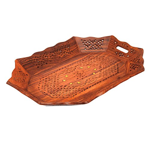 Gorgeous Birthday Housewarming Gift Ideas Handmade Decorative Designer Rosewood Serving Tray With Handles Ottoman Fruit Tray Breakfast Snack Food Coffee Tray Dining Kitchen Tableware 15 x 10 Inches