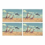 InterestPrint Group Giraffe Africa Placemat Table Mats Set of 4, Heat Resistant Place Mat for Dining Table Restaurant Home Kitchen Decor 12''x18''