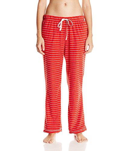 Casual Nights Women's Plush Micro-Fleece Pajama Pants - Black Stripe - (Stripe Long Lounger)