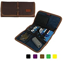 Khanka Universal Portable Organizer WD My Passport Ultra / Samsung M3 / Seagate Backup Plus / Toshiba Hard Drive USB 1TB,Power Bank / Adapter,USB Drive shuttle / Play Card / USB Cable / Memory Card / Battery Storage Wrap Electronics Accessories Travel Carry Case Bag Cover (Medium-Brown)