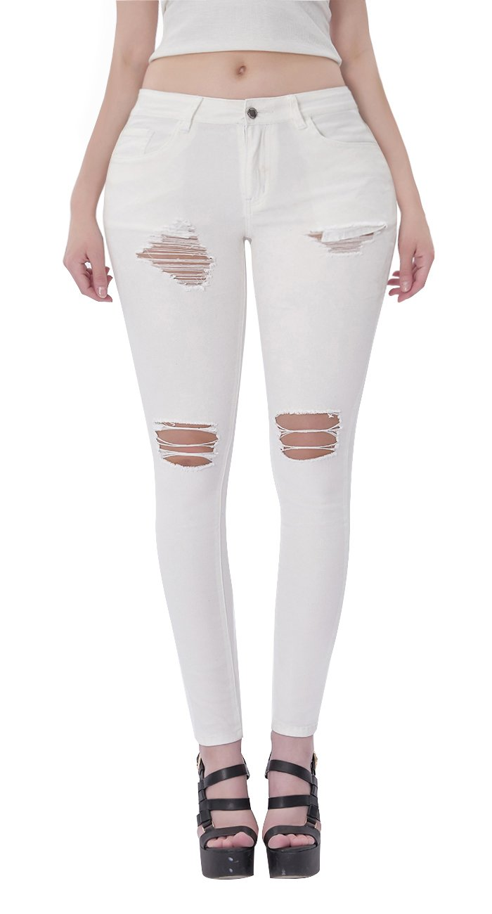 VICVIK Womens Ripped Skinny Stretch Jeans Butt Lift Super Comfy Denim Pants Pencil Jeggings (White, 7)
