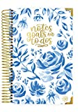 """bloom daily planners New UNDATED Hardcover Calendar & Daily Bound to-Do List Book - Notes, Goals, to Do's Planning System - 8.25' x 6.5"""" - Blue & White Floral"""