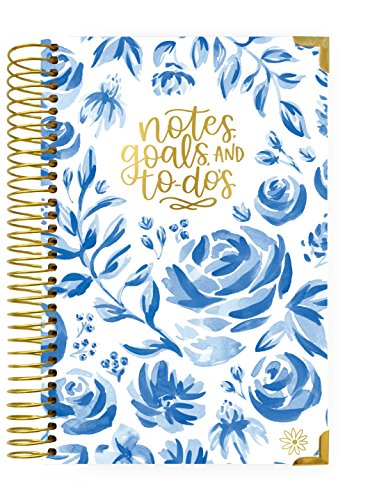 bloom daily planners New UNDATED Hardcover Calendar & Daily Bound to-Do List Book - Notes, Goals, to Dos Planning System - 8.25 x 6.5 - Blue & White Floral