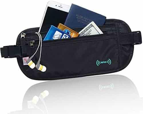AIKELIDA RFID Blocking Travel Wallet - Money Belt & Passport Holder