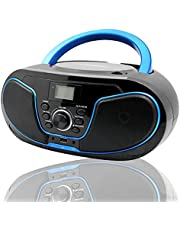 LONPOO Portable CD Boombox FM Radio/USB/Bluetooth/AUX Input and Earphone Jack Output with Stereo Sound Speaker Audio Player