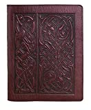 Genuine Leather Composition Notebook Cover + Insert | 8.25 x 10.25 Inches | Celtic Hounds, Wine | Benchcrafted in the USA by Oberon Design