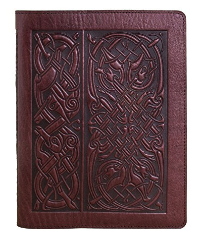 Genuine Leather Composition Notebook Cover + Insert | 8.25 x 10.25 Inches | Celtic Hounds, Wine | Benchcrafted in the USA by Oberon Design by Oberon Design