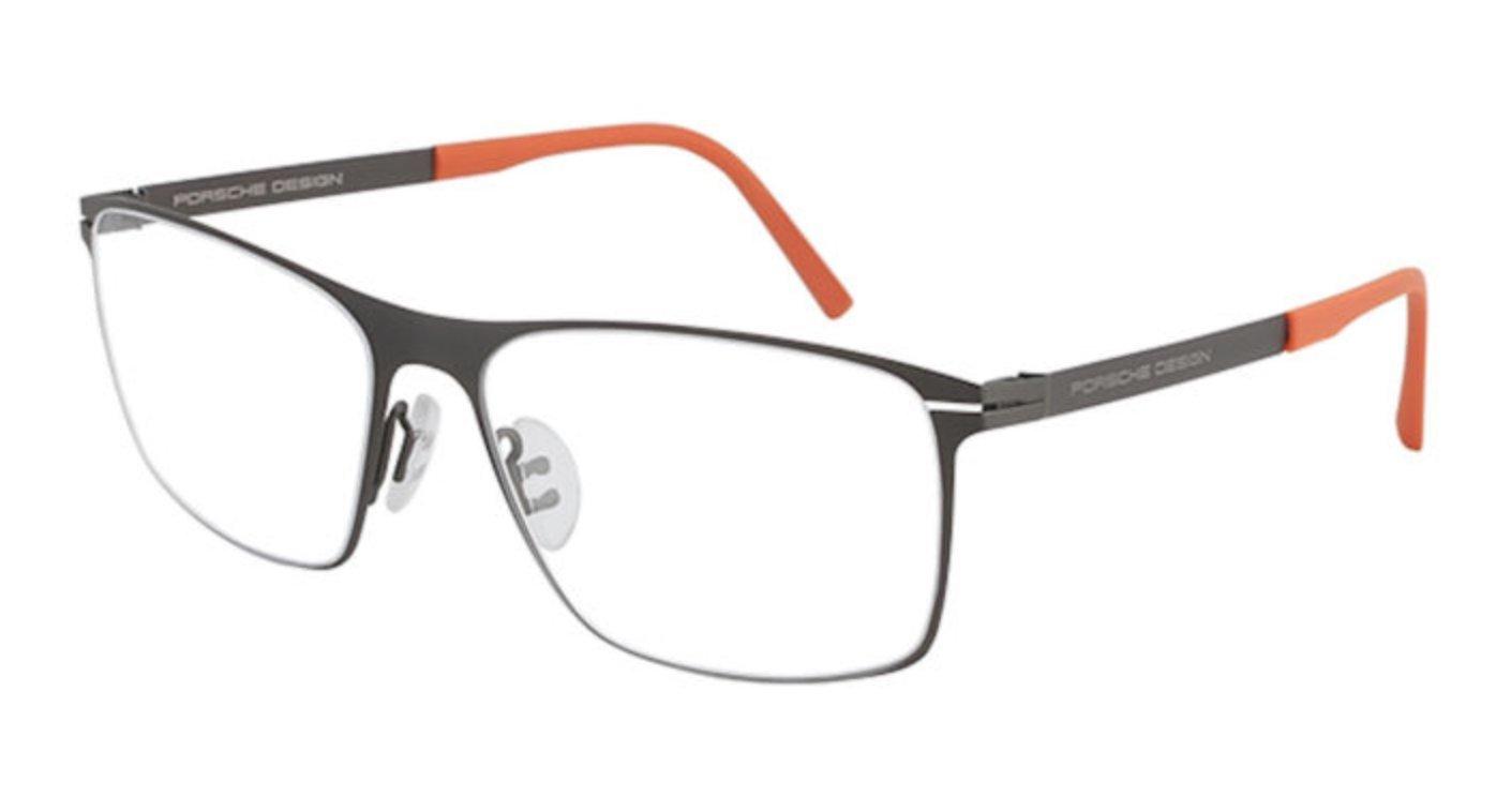 Men Eyeglasses Porsche Design Titanium P8256 C Gunmetal Full Rim Rectangular with orange (Rutenio scuro, 55) Orange arms by Porsche Design