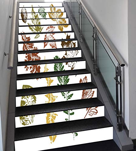 Stair Stickers Wall Stickers,13 PCS Self-adhesive,Leaf,Autumn Spring Maple Oak Various Tree Leaves in Grunge Style Art Decorative,Burgundy Brown and Forest Green,Stair Riser Decal for Living Room, Hal