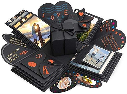 Explosion Box Set, DIY Creative Handmade Album Gift Box Surprise Memory Photo Album Sticker Box for Boyfriend Children Birthday Gift 14 x14 inch (Best Birthday Surprise For A Boyfriend)