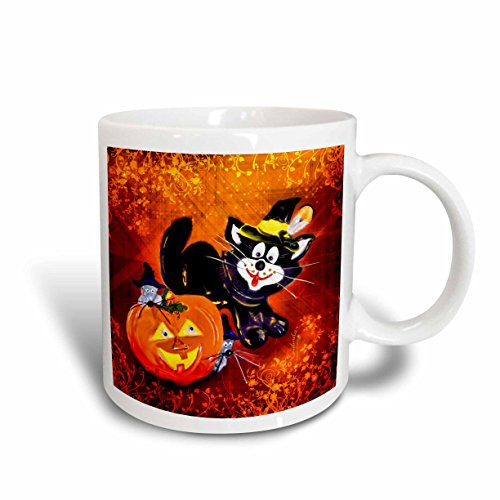 3dRose Funny Halloween Cat and Mouse Mug, -