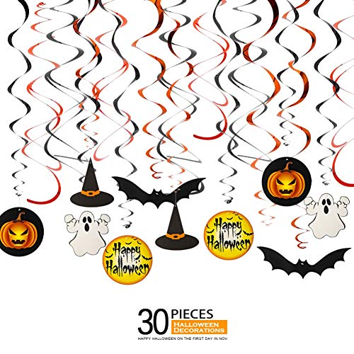 Family Friendly Halloween Party Themes (Halloween Decorations for Kids, Ediff Family Hanging Swirls Decor (30 PCS) with Bats, Spider, Ghost, Pumpkin, Indoor/Outdoor Friendly Halloween Party)
