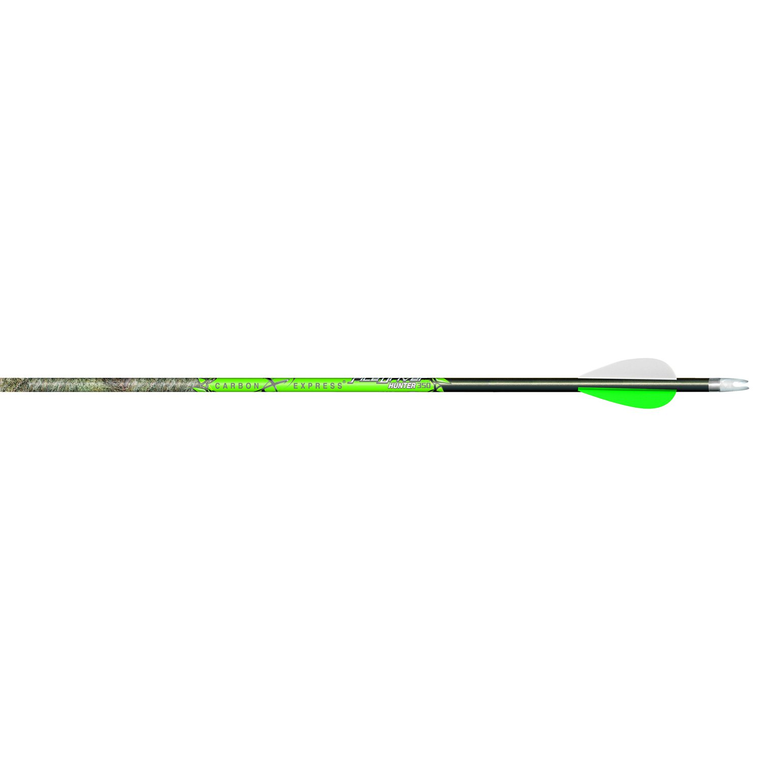 Carbon Express T1317 PileDriver Hunter Arrow with Built-In Weight Forward and 2-Inch Assault Vanes, 350-Sized Mossy Oak Brush Pattern Shaft, 12-Pack