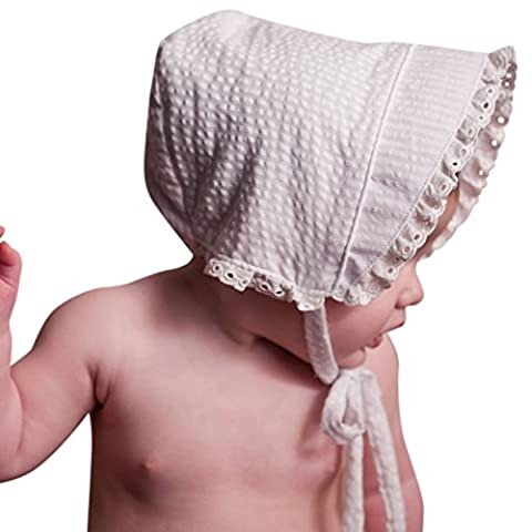 Huggalugs Baby Girls White Seersucker Bonnet with Eyelet Lace 0-3m - Striped Seersucker Cap