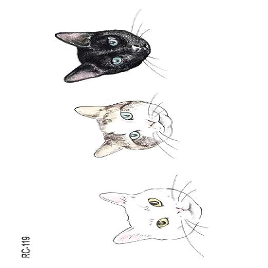 adgkitb 5piezas Animales Lindos Tatuaje Gato pez Tatuaje Temporal ...