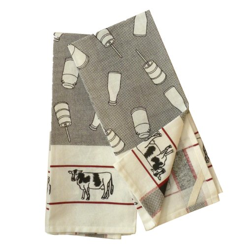 Dairy Farm Cotton Dish Towel, Set of 2 - Coffee Cow Black