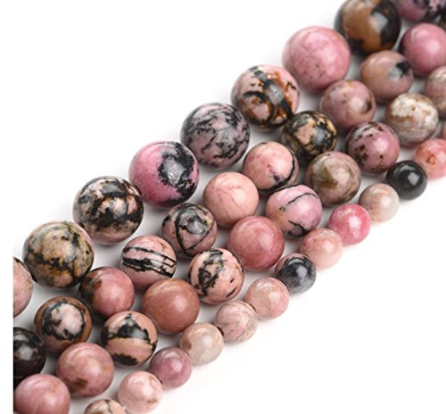 2 Strands Top Quality Natural Rhodonite Gemstone 6mm Round Loose Gems Stone Beads for Jewelry Craft Making Healing Crystal Quartz GF24-6