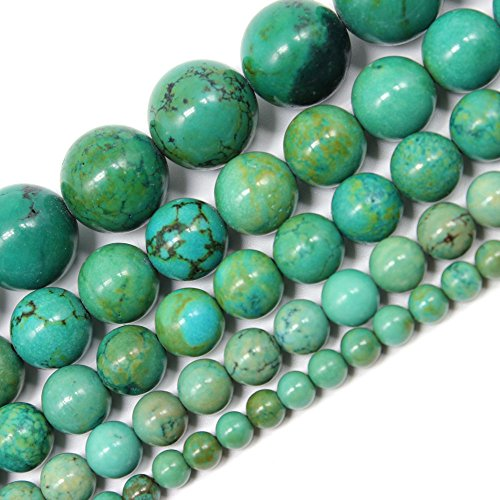 (JarTc Natural Turquoise Beads Round Stone beads For DIY Necklace Bracelat Jewelry Making Strand 15