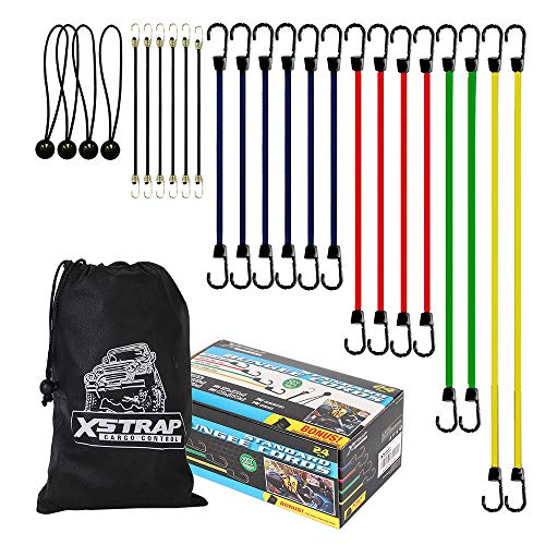 XSTRAP 24 Pieces Bungee Cords With Drawstring Bag (Plain)