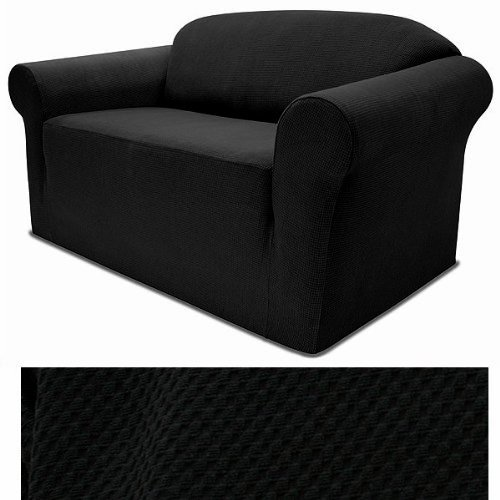 4-Way Stretch Spandex Jersey BLACK Slipcover Set - Sofa cover and Loveseat Cover included - Large 2 Seat Sofa