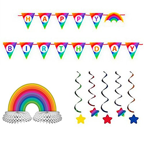 Rainbow Party Supply Pack: Jointed Banner, Dizzy Danglers, and Centerpiece (Variety Pack (Rainbow Centerpieces)