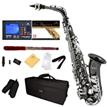 Mendini E-Flat Alto Saxophone, Black Nickel Plated with Nickel Plated Keys and Tuner, Case, Pocketbook - MAS-BNN+92D+PB
